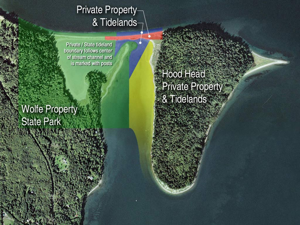 Photo representing private tidelands, property, and adjacent State Park